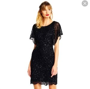 NWT Sequin Beaded Cocktail Dress Flutter Sleeves
